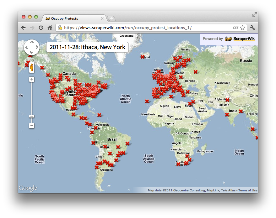 Google Map of occupy protests around the world