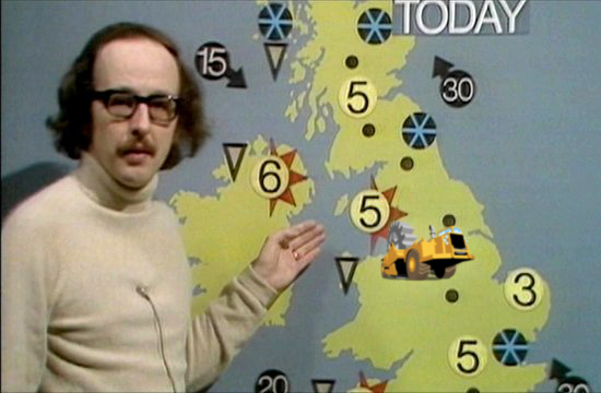 The BBC's Michael Fish presenting the weather in the 80s, with a ScraperWiki tractor superimposed over Liverpool