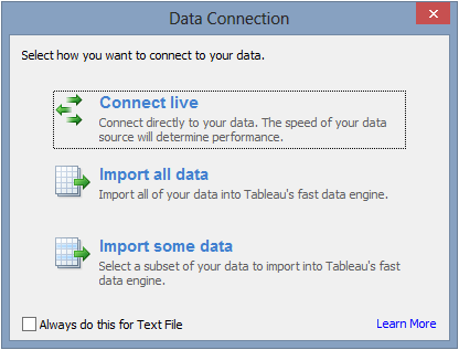 Tableau connection type dialog