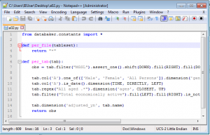 Notepad++ editing databaker recipe